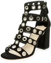 Prada Rivet-Studded Caged Sandal, Black (Nero)