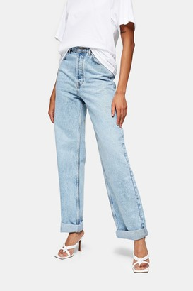 Topshop Womens Bleach Stone Oversized Mom Tapered Jeans - Bleach Stone