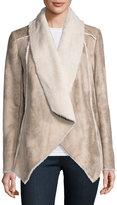 Neiman Marcus Asymmetric Faux-Shearling Jacket, Beige/Multi