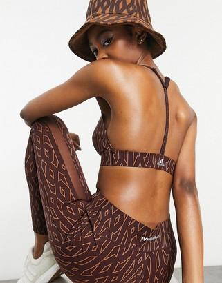 Ivy Park adidas x monogram triangle bralet in wild brown