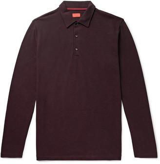 Isaia Melange Cotton-Pique Polo Shirt