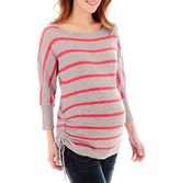 JCPenney Maternity 3/4-Sleeve Neon Striped Drawstring Tee - Plus