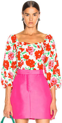Rixo Veronica Top in White & Red Large Rose | FWRD