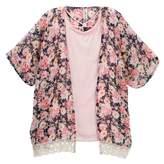 Beautees Crisscross Neck Top & Lace Trim Kimono (Big Girls)