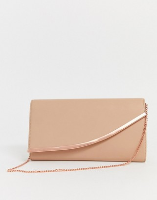 Asos Design DESIGN curved bar clutch bag with detachable chain strap-Pink