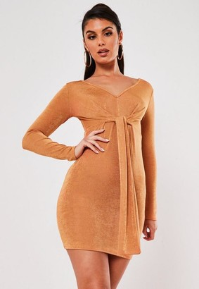 Missguided Brown Slinky V Neck Tie Detail Mini Dress