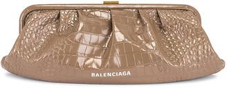 Balenciaga XL Cloud Clutch in Mink Grey | FWRD