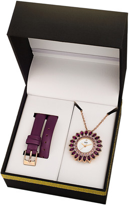 Burgi Women's Leather Interchangeable Watch & Pendant Necklace Set
