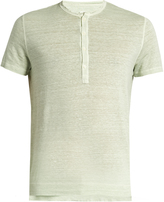 120% Lino 120 LINO Henley linen T-shirt