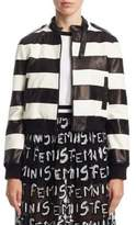 Alice + Olivia Nixon Striped Leather Jacket