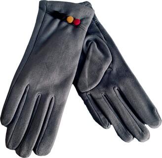 Purple Possum Grey Gloves Ladies Soft Full Winter Gloves Faux Suede Pink Yellow Button Trim