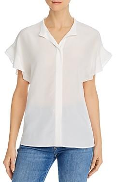 Frame Ruffle-Sleeve Silk Blouse