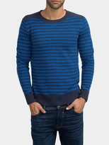 White + Warren Mens Cashmere Rib Shoulder Crewneck