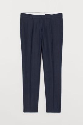 H&M Slim Fit Linen Suit Pants - Blue