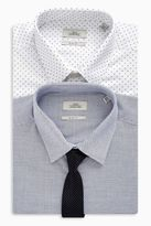 Next Mens Grey/White Slim Fit Shirts With Tie Two Pack