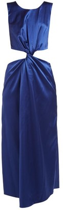 Marina Moscone Cutaway Twist-front Satin Dress - Blue
