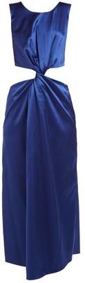 Marina Moscone - Cutaway Twist Front Satin Dress - Womens - Blue