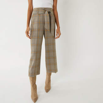 Warehouse CHECK TIE WIDE LEG TROUSERS