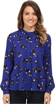 NYDJ Petite Petite Printed Long Sleeve Mock Neck Blouse