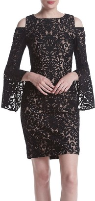 Xscape Evenings Women's Lace Cold Shoulder Bell Sleeve Dress