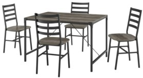 Walker Edison 5-Piece Rustic Angle Table with Slat Back Chairs