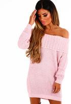Pink Boutique Mochacino Pink Knitted Bardot Jumper