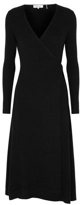 Diane von Furstenberg Natasha black wool-blend wrap dress