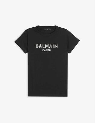 Balmain Sequinned cotton-jersey T-shirt 4-16 years