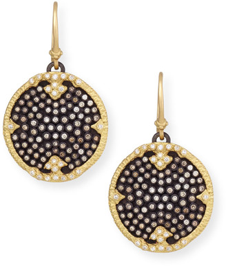 Armenta Old World Midnight Pave Diamond Disc Earrings