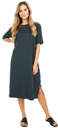 Eileen Fisher Round Neck Short Sleeve Dress with Side Slits (Forest Night) Women's Dress