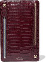 Smythson Mara Croc-effect Glossed-leather Wallet - Burgundy