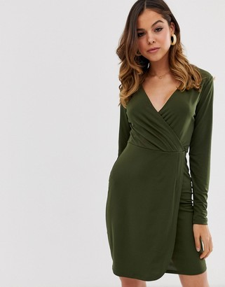 French Connection long sleeved slinky wrap dress-Green