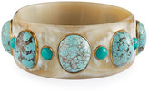 Ashley Pittman Michezo Light Horn & Turquoise Bangle