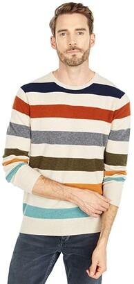 J.Crew Multicolor Stripe Cashmere Crew (Strpe Heather Natural) Men's Clothing