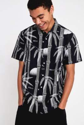 Edwin Nimes Black Bamboo Short-Sleeve Shirt - black S at Urban Outfitters