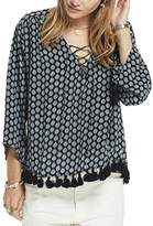 Maison Scotch Women's Viscose Printed Boho Tassel Hem and Lace up Front Tops
