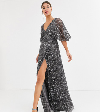 Maya Tall Bridesmaid delicate sequin wrap maxi dress in dark grey
