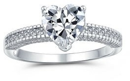 Bling Jewelry 2CT AAA CZ Solitaire Heart Engagement Ring Band Ring Sterling Silver