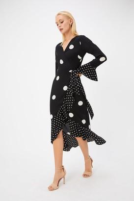 Coast Black Polkadot Frill Midi Dress