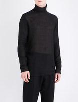 Ann Demeulemeester Turtleneck wool and linen-blend top