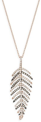 Effy 14K Rose Gold, White Diamond Brown Diamond Leaf Pendant Necklace