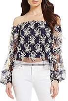 Lucy Paris Off-the-Shoulder Embroidered Blouse