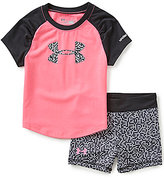 Under Armour Baby Girls 12-24 Months Pixel-Print Logo Tee & Pixel-Print Shorts Set