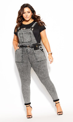 City Chic Overall Skinny Jean - acid
