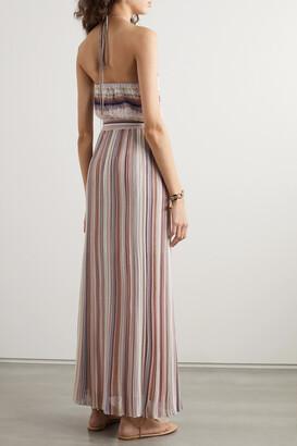 Missoni Metallic Striped Crochet-knit Halterneck Maxi Dress - Pink
