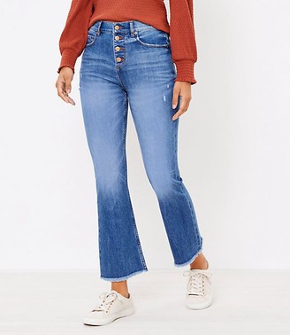 LOFT Petite Flare Crop Jeans in Authentic Light Indigo Wash