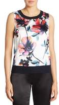 St. John Floral Wool & Cashmere Top
