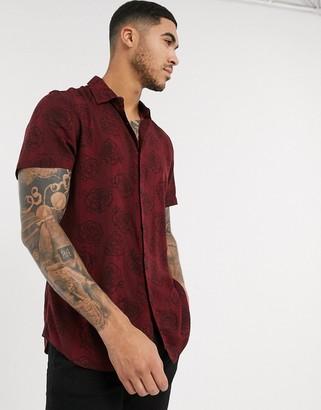 New Look stripe floral short sleeve shirt in burgundy