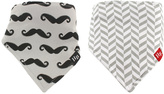Hudson Baby Gray & White Mustache Bandanna Bib - Set of Two