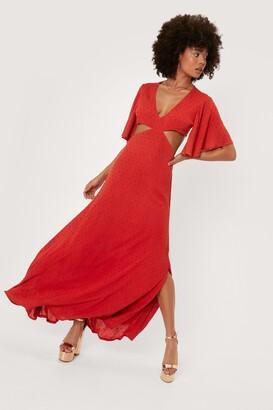 Nasty Gal Womens Cut Out Wide Sleeve Maxi Dress - Orange - 6